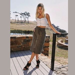 NEW FREE PEOPLE JUST THE GIRL UTILITY MIDI SKIRT